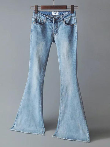 Elastic Bell-bottoms Jean Pants Bottoms DEEP BLUE 26 (Waist 27.6, Hip 33.1-38.6, Length 40.2)