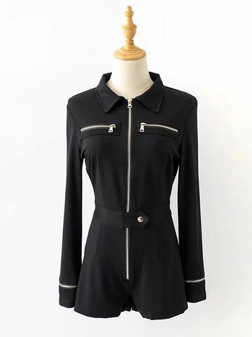 Image of Zipper Solid Wrap Jumpsuits BLACK M