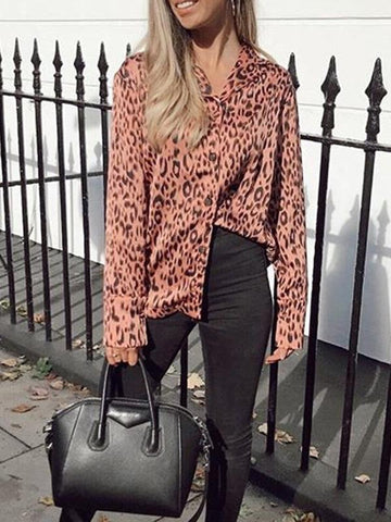Image of V-neck Leopard Bohemia Blouse Top PINK 3XL