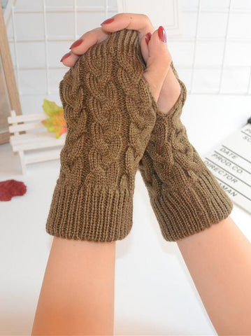 Threaded Half Finger Knit Gloves RED FREE SIZE
