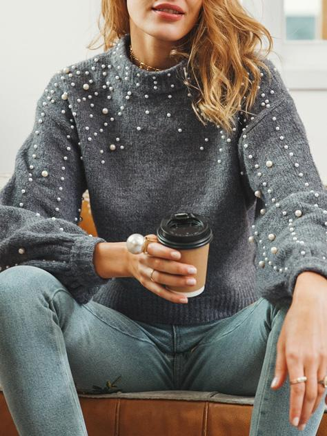 Gray Puff Sleeves Beading Sweater Tops GRAY S