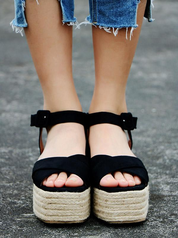 Ankle Strap Platform Sandals BLACK 41