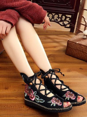 National Style Embroidered Lace-up Shoes RED 35