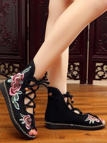 National Style Embroidered Lace-up Shoes RED 38