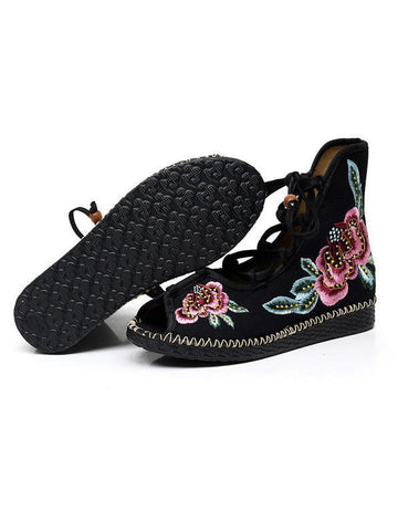 National Style Embroidered Lace-up Shoes BLACK 35