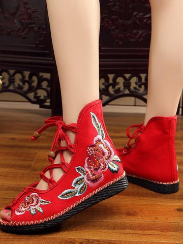 National Style Embroidered Lace-up Shoes RED 39