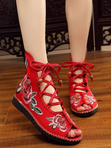 National Style Embroidered Lace-up Shoes RED 40