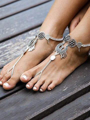 Pretty Shell Hollow Water Drop Carving Footchain Accessories FREE SIZE