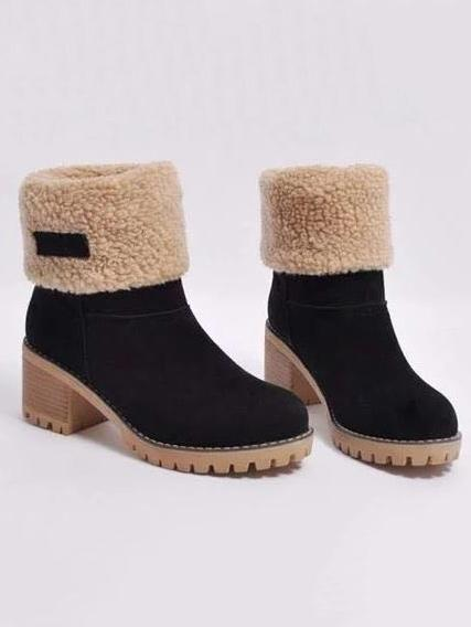 Chunky Mid Calf Winter\u0026Snow Boots BLACK 43