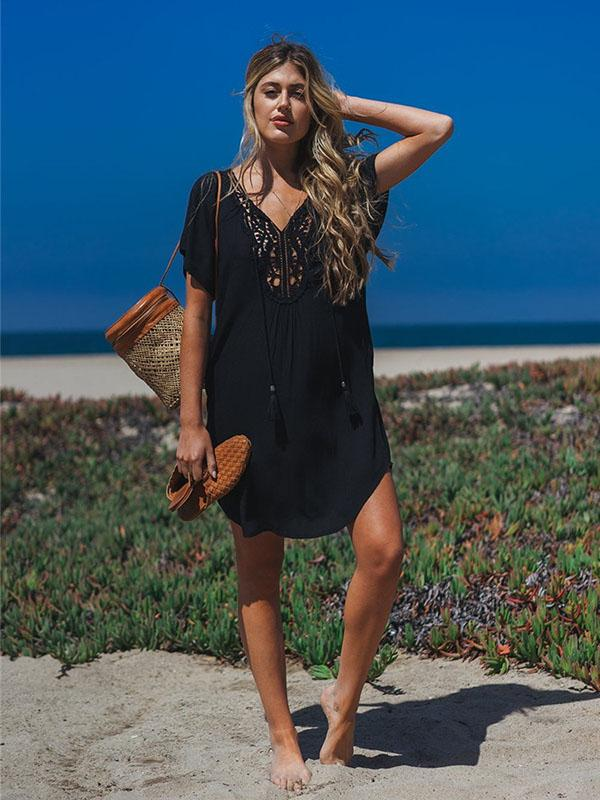 Lacy Solid Black Hollow Beach Cover-ups BLACK FREE SIZE