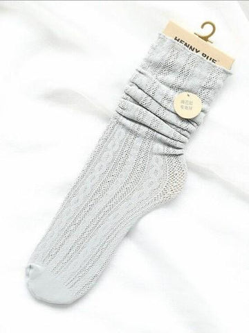Cutie Stringy Selvedge Hollow Knee-socks LIGHT BLUE FREE SIZE