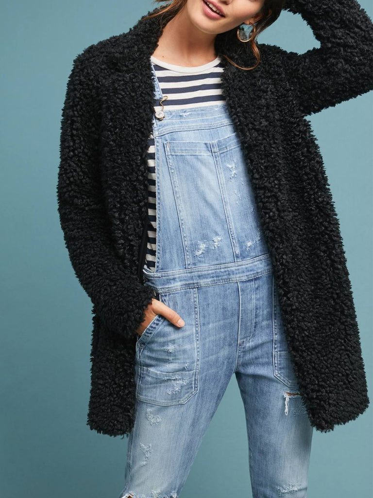 Black Faux Fur Outwear BLACK S