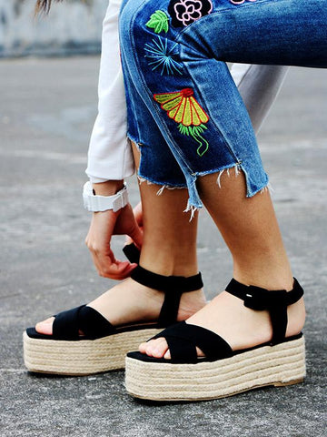 Image of Ankle Strap Platform Sandals BLACK 36