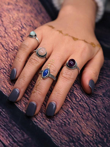 Image of 4PCS Silver\u00265PCS Gold Vintage Rings Accessories GOLD