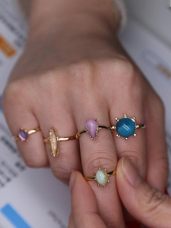 4PCS Silver\u00265PCS Gold Vintage Rings Accessories SILVER