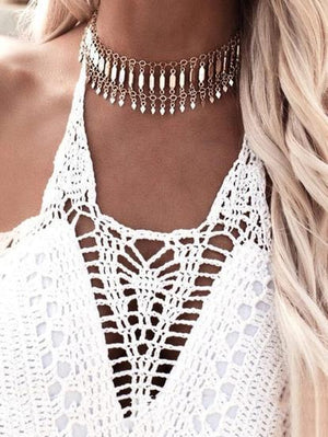 Punk Paillette Collar Necklaces Accessories GOLD