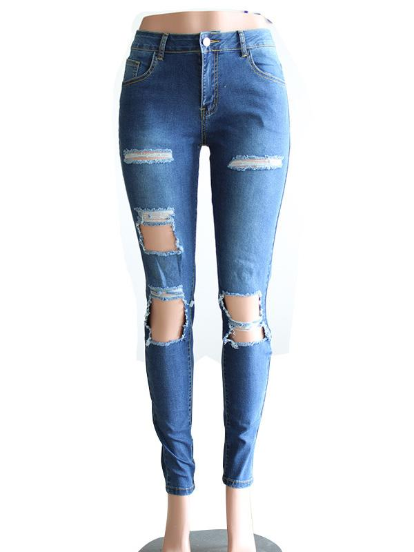 Street Pants Big Holes Torn Casual Trousers Skinny Pencil Pants SAME AS PICTURE M