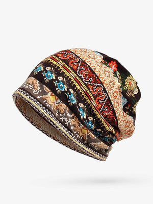 Bohemia Cotton Floral Hood Accessories COFFEE