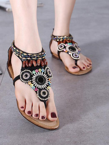 Image of Bohemia Beach Flat Sandals BLACK 35
