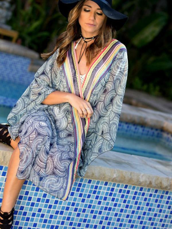 Plus Size Loose Chiffon Beach Cover-ups SAME AS PICTURE S