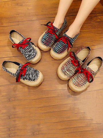 Image of Canvas Lace-up Flat Shoes CREAM 38