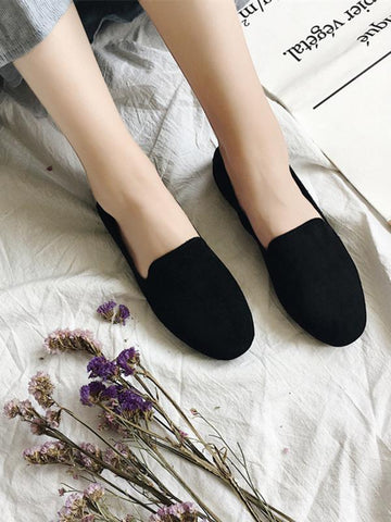 Simple Comfortable Suede Shoes BLACK 38