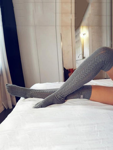 Solid Color Fishbone Over Knee-high Stocking LIGHT GRAY