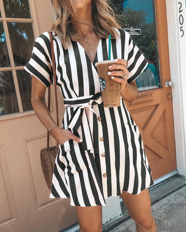 Image of Bohemia Short Sleeves Striped Mini  Dress NAVY BLUE L