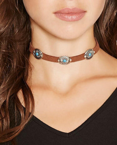 Fashion Simple Choker Clavicalis聽Turquoise聽Necklaces Accessories BROWN