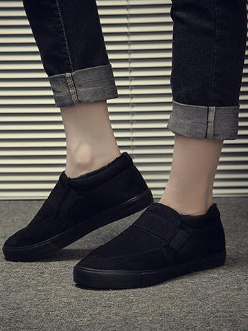 Image of Warm Solid Color Loafers BLACK 39