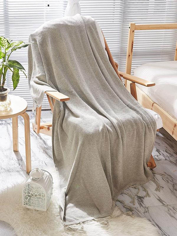Leisure Tasseled Knitted Blanket GRAY BLUE FREE SIZE