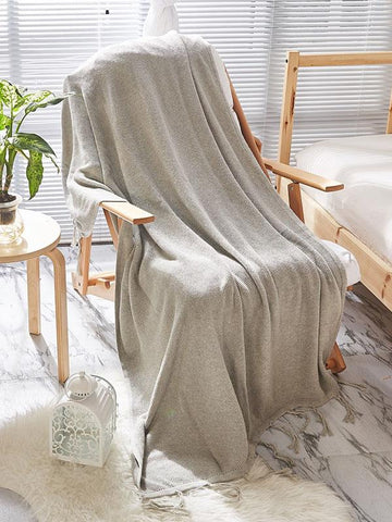 Image of Leisure Tasseled Knitted Blanket GRAY BLUE FREE SIZE