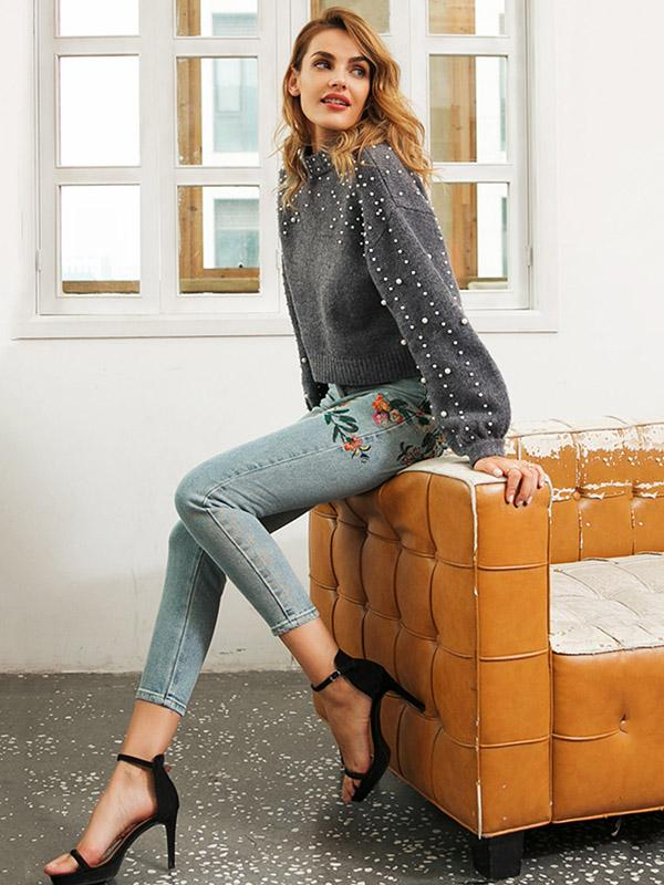 Gray Puff Sleeves Beading Sweater Tops GRAY M