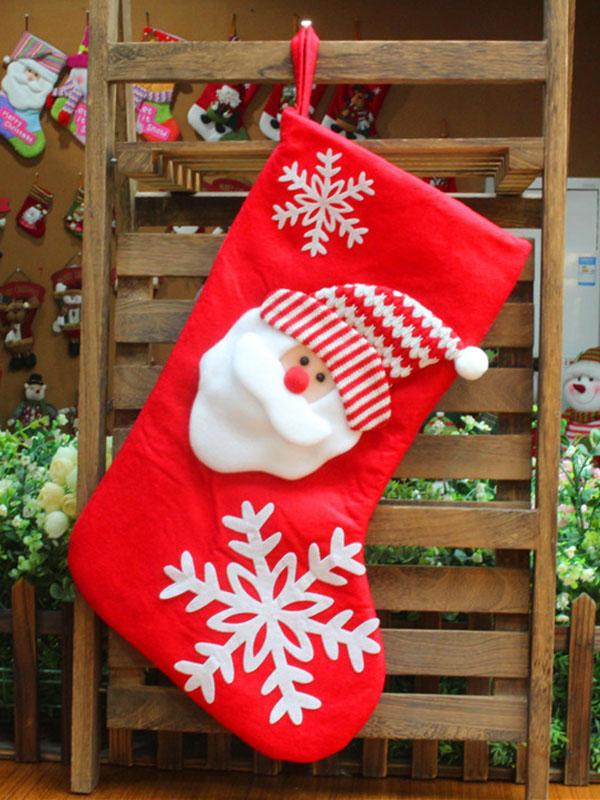 Santa Claus\u0026Snowman Christmas Socks Gift Pouch Decoration WHITE FREE SIZE