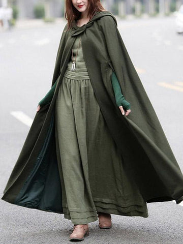 Retro Batwing-sleeves Cape Tops ARMY GREEN S
