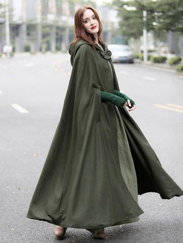 Retro Batwing-sleeves Cape Tops ARMY GREEN XL