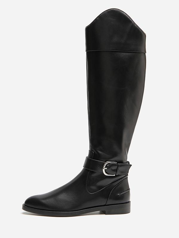 Solid Side-zipper Low Heels Leather Knee Boots BLACK 35