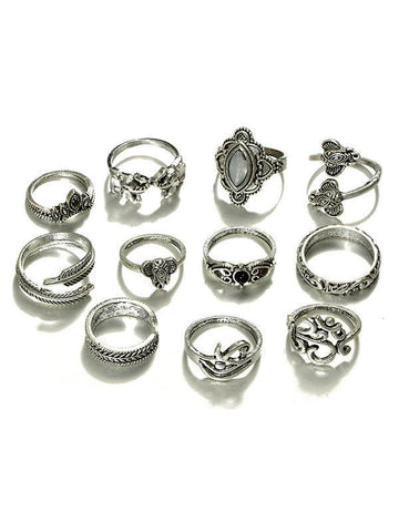 Pretty Vintage 11PCS Rings Accessories GOLD