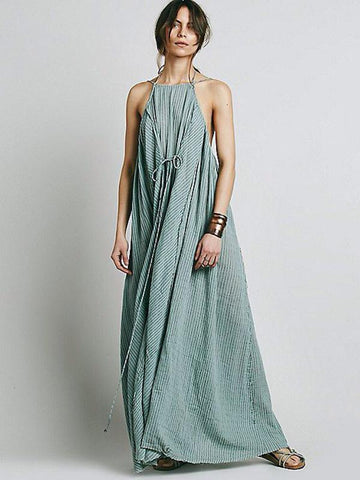 Image of Simple Striped Spaghetti-neck Maxi Dress SAME AS PICTURES M
