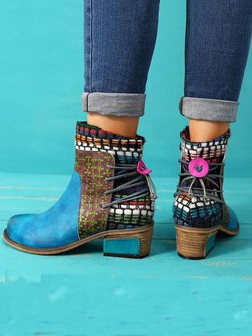 Bohemia Knitting Leather Booties BLUE 40