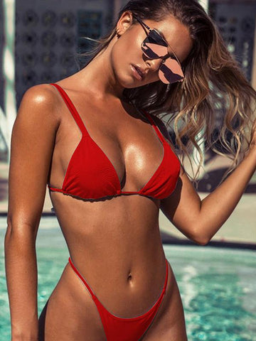 Image of Solid Spaghetti Straps Bikinis Swimwear RED S