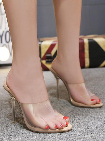 Image of Clear Mules Peep Toe Sandal High Heels APRICOT 38