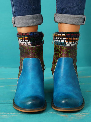 Bohemia Knitting Leather Booties BLUE 38