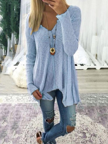 Loose Solid Color Long Sleeves Sweater Tops COFFEE XL