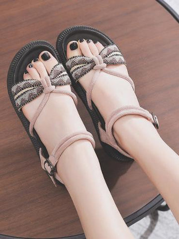 Image of Pretty Beach Flats Sandals BLACK 36