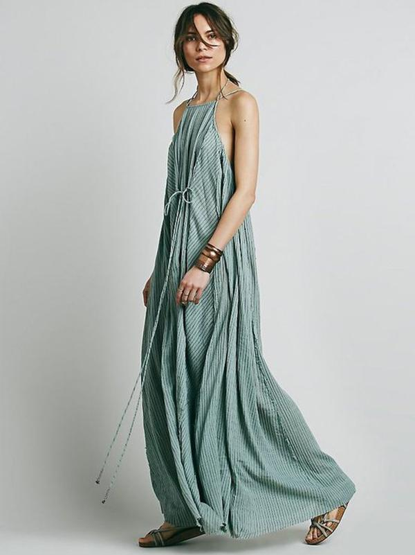 Simple Striped Spaghetti-neck Maxi Dress SAME AS PICTURES L