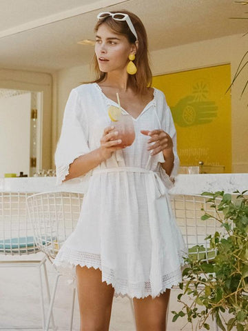 Image of Dooerzi Solid Strap Beach Cover-ups Tops
