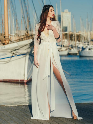 Image of Dooerzi Lace Split-joint Maxi Cover-up