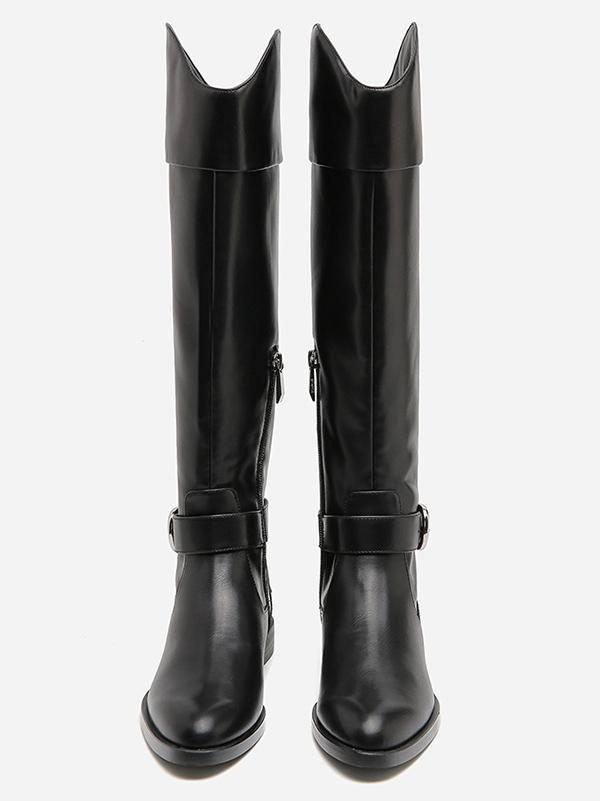 Solid Side-zipper Low Heels Leather Knee Boots BLACK 36