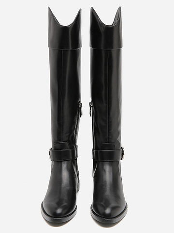 Image of Solid Side-zipper Low Heels Leather Knee Boots BLACK 36